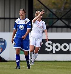 Natasha Dowie of Liverpool Ladies celebrates her third goal against Bristol Academy Women - Mandatory by-line: Paul Knight/JMP - Mobile: 07966 386802 - 13/09/2015 -  FOOTBALL - Stoke Gifford Stadium - Bristol, England -  Bristol Academy Women v Liverpool Ladies FC - FA WSL Continental Tyres Cup