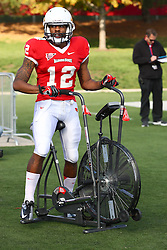 20 October 2012:  Tyrone Walker finishes warming up on the bike during an NCAA Missouri Valley Football Conference football game between the Missouri State Bears and the Illinois State Redbirds at Hancock Stadium in Normal IL