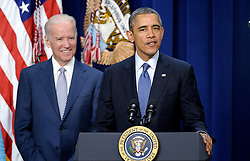 """File photo dated April 7, 2014 of President Barack Obama and Vice President Joe Biden attend the ceremonial swearing-in of Maria Contreras-Sweet as Administrator of the Small Business Administration at the White House in Washington, DC, USA. Former President Barack Obama endorsed Joe Biden, his two-term vice president, on Tuesday morning in the race for the White House. """"Choosing Joe to be my vice president was one of the best decisions I ever made, and he became a close friend. And I believe Joe has all the qualities we need in a president right now,"""" Obama said in a video posted to Twitter. Photo by Olivier Douliery/ABACAPRESS.COM"""