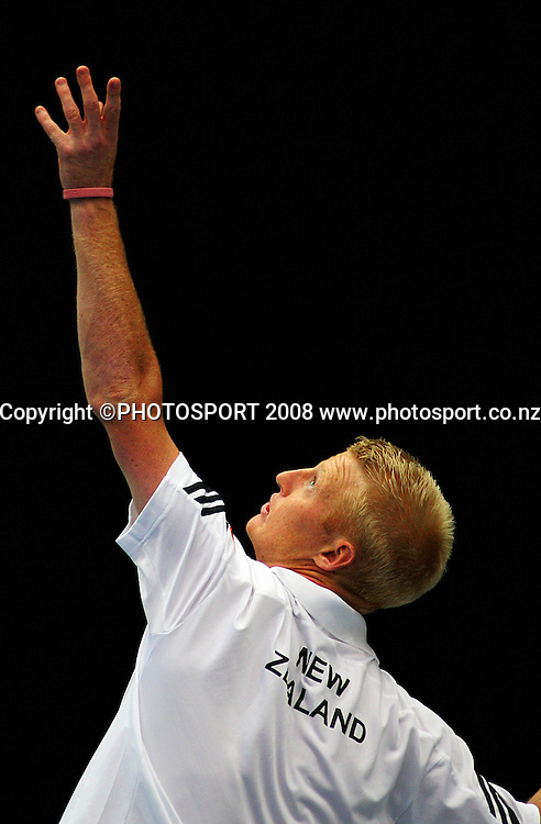 Daniel King-Turner.<br /> Davis Cup Tennis - New Zealand v China at TSB Stadium, New Plymouth, New Zealand. Saturday, 20 September 2008. Photo: Dave Lintott/PHOTOSPORT