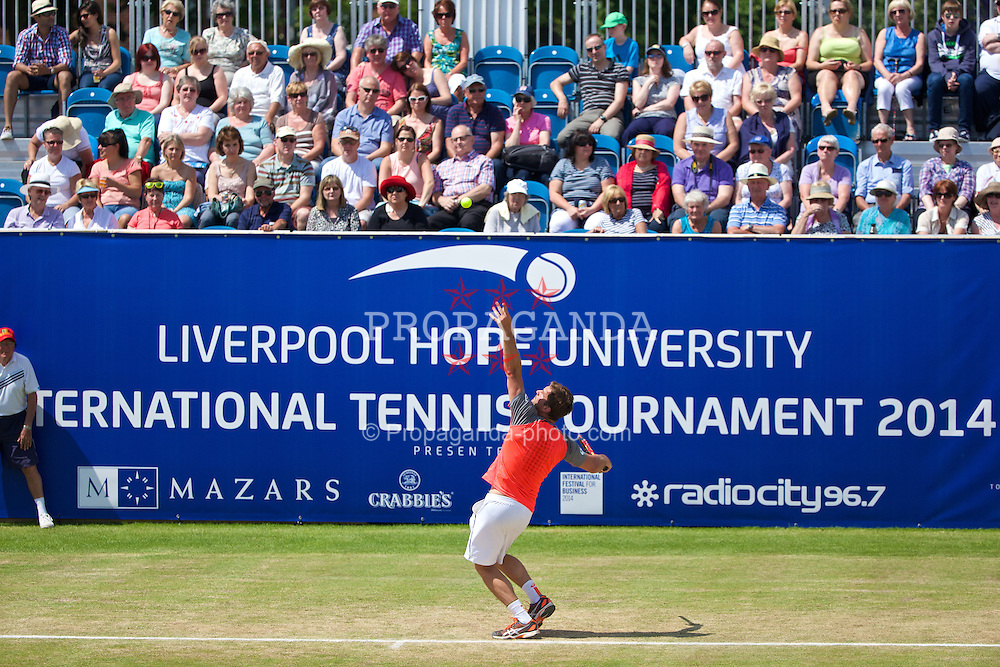 LIVERPOOL, ENGLAND - Sunday, June 22, 2014: Jan-Michael Gambill (USA) during Day Four of the Liverpool Hope University International Tennis Tournament at Liverpool Cricket Club. (Pic by David Rawcliffe/Propaganda)