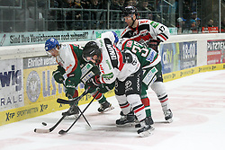 12.12.2014, Curt Fenzel Stadion, Augsburg, GER, DEL, Augsburger Panther vs Koelner Haie, 26. Runde, im Bild l-r: im Zweikampf, Aktion, mit Daniel Weiss #57 (Augsburger Panther), Marcel Ohmann #37 (Koelner Haie), Arvids Rekis #37 (Augsburger Panther) und Charlie Stephens #17 (Koelner Haie) // during Germans DEL Icehockey League 26th round match between Augsburger Panther vs Koelner Haie at the Curt Fenzel Stadion in Augsburg, Germany on 2014/12/12. EXPA Pictures © 2014, PhotoCredit: EXPA/ Eibner-Pressefoto/ Kolbert<br /> <br /> *****ATTENTION - OUT of GER*****