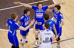 Wauter Verhelst and other players of Knack Roeselare celebrate during volleyball match between ACH Volley (SLO) and Knack Roeselare (BEL) at Quarterfinals of CEV Challenge Cup 2011/2012, on February 8, 2012 in Arena Tivoli, Ljubljana, Slovenia. ACH Volley defeated Knack Roeselare  3-0. (Photo By Vid Ponikvar / Sportida.com)