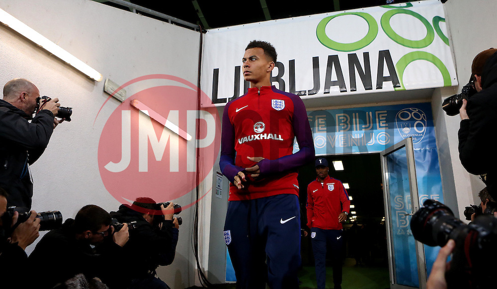 Dele Ali of England arrives at The SRC Stozice Stadium ahead of the World Cup Qualifier against Slovenia - Mandatory by-line: Robbie Stephenson/JMP - 10/10/2016 - FOOTBALL - SRC Stozice - Ljubljana, England - England Press Conference