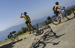 October 3, 2018 - Himachal Pradesh, India - Joachim and Kim of Germany (Team of Two) takes break at feed station as they competes at the 14th edition of the Hero MTB Himalaya mountain bike race in the northern Indian state of Himachal Pradesh on 4th  October, 2018. The 14th edition of the annual cross country race is taking place over eight stages in the foothills of the Himalaya, started in Shimla on September 28, 2018 and finishing in Dharamshala on October 6,2018. (Credit Image: © Indraneel Chowdhury/NurPhoto/ZUMA Press)