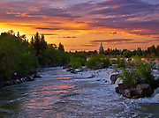 Sunset over the Snake River in Idaho Falls, Idaho