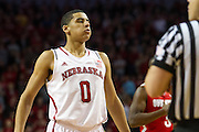 January 20, 2014: Tai Webster (0) of the Nebraska Cornhuskers before shooting free throws in the second half against the Ohio State Buckeyes at the Pinnacle Bank Arena, Lincoln, NE. Nebraska won in the game against Ohio State 68 to 62.