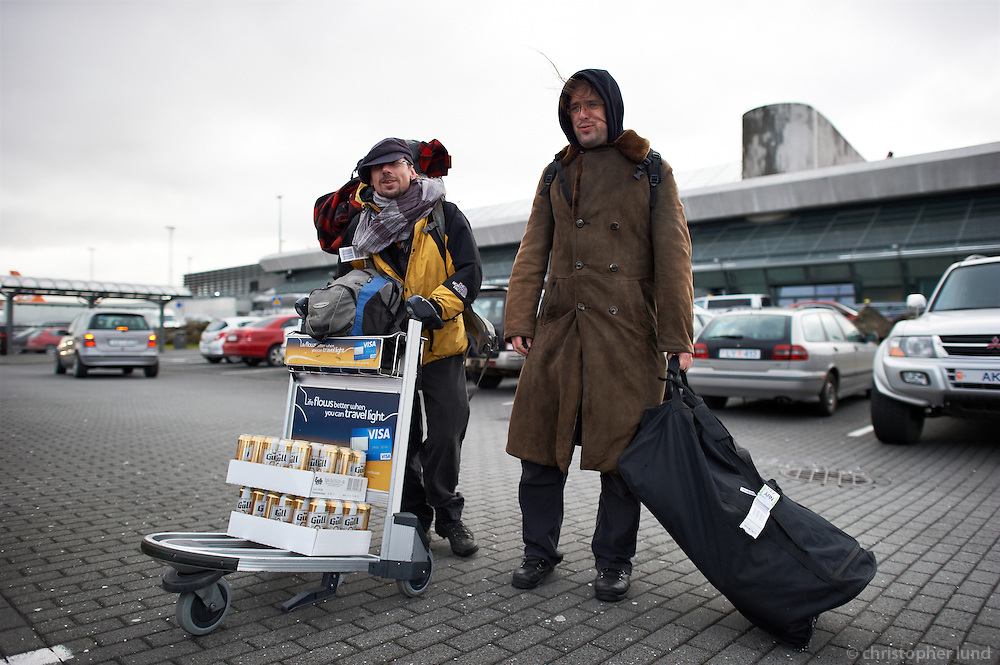 Two members of the German Piraten Partei outside Keflavik airport in Iceland.