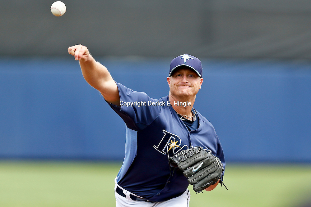 Mar 2, 2013; Port Charlotte, FL, USA; Tampa Bay Rays starting pitcher Alex Cobb (53) during a spring training game against the Baltimore Orioles at Charlotte Sports Park. Mandatory Credit: Derick E. Hingle-USA TODAY Sports