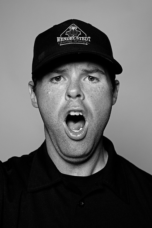 DAYTONA BEACH, FL - FEBRUARY 2, 2016:  Portraits of umpires calling a strike at the Harry Wendelstedt Umpire School in Daytona Beach, Fla.: Eric Swift, 31, of Kalispell, Montana. (Photo by Melissa Lyttle)