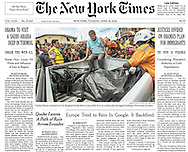 "THE NEW YORK TIMES. ""Earthquake Leaves a Trail of Destruction in Ecuador"" by Maggy Ayala. A1. April 20, 2016"