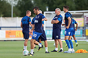 AFC Wimbledon attacker Adam Roscrow (10) warming up during the EFL Cup match between AFC Wimbledon and Milton Keynes Dons at the Cherry Red Records Stadium, Kingston, England on 13 August 2019.