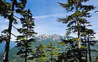 A view of Mailbox Peak from Mt Washington near Interstate 90 in the Washington Cascades range, USA.
