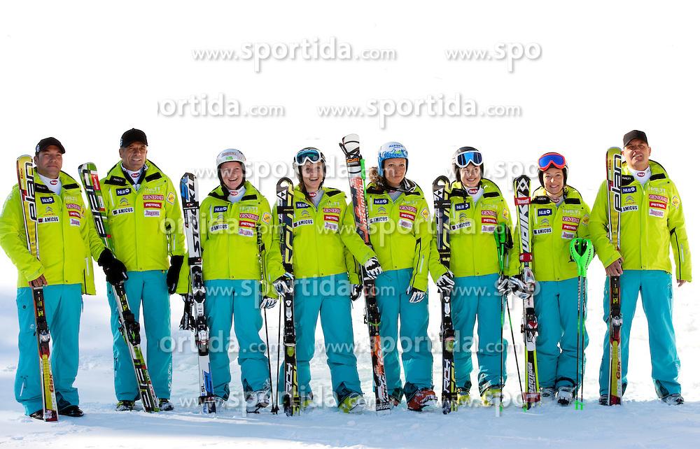 Ladies Team: Andrej Mozina, Vlado Makuc, Marusa Ferk, Vanja Brodnik, Ilka Stuhec, Katarina Lavtar, Tina Robnik and  Denis Steharnik during media day of Slovenian Alpine Ski team on October 17, 2011, in Rudno polje, Pokljuka, Slovenia. (Photo by Vid Ponikvar / Sportida)