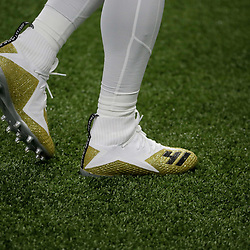 Sep 29, 2019; New Orleans, LA, USA; Shoes worn by New Orleans Saints running back Alvin Kamara (41) prior to kickoff against the Dallas Cowboys at the Mercedes-Benz Superdome. Mandatory Credit: Derick E. Hingle-USA TODAY Sports