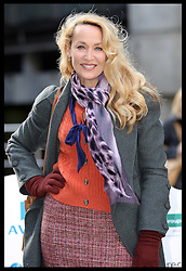 Jerry Hall  in London to promote a  10 mile sofa carrying walk to raise money for the homelessness charity Emmaus , Thursday, 17th November 2011. The former supermodel is patron of the charity.  Photo by: Stephen Lock / i-Images