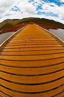The 80-meter (262 foot)  Pont Perignon (bridge) over Yate Lake, Parc de la Riviere-Bleue (Blue River Provincial Park), Grande Terre, New Caledonia
