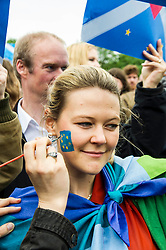 Pictured: Charlotte Corbett<br /> Thousands of people gathered outside the Scottish Parliament to demonstrate for Scotland to remain part of EU. Young and old gathered in support of the European Movement Edinburgh  whoorganised the event inthe wake of the vote to leave<br /> <br /> <br /> Ger Harley | EEm 29 June 2016