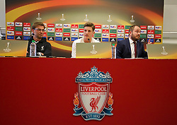LIVERPOOL, ENGLAND - Wednesday, March 9, 2016: Liverpool's manager Jürgen Klopp, Adam Lallana and press officer Matt McCann during a press conference at Melwood Training Ground ahead of the UEFA Europa League Round of 16 1st Leg match against Manchester United FC. (Pic by David Rawcliffe/Propaganda)