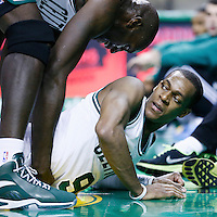 02 January 2013: Boston Celtics point guard Rajon Rondo (9) lays on the floor while Boston Celtics power forward Kevin Garnett (5) helps him to stand up during the Memphis Grizzlies 93-83 victory over the Boston Celtics at the TD Garden, Boston, Massachusetts, USA.