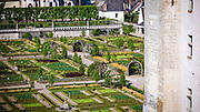 Gardens and village, Chateau de Villandry, Villandry, Loire Valley, France