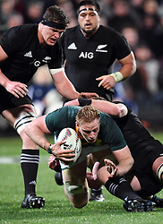 South Africa's Jean-Luc du Preez under pressure from the New Zealand defence in the Investic Championship rugby test match at QBE Stadium, Albany, Auckland New Zealand, Saturday, September 16, 2017. Credit:SNPA / Ross Setford** NO ARCHIVING**