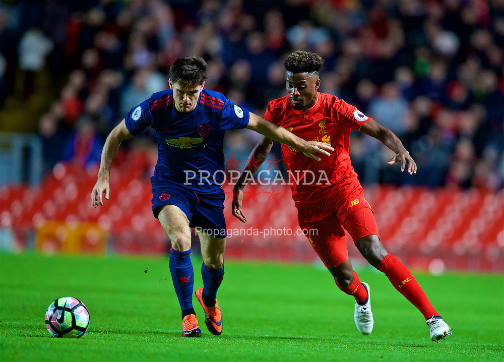 LIVERPOOL, ENGLAND - Monday, January 16, 2017: Liverpool's Madger Gomes in action against Manchester United's Joe Riley during FA Premier League 2 Division 1 Under-23 match at Anfield. (Pic by David Rawcliffe/Propaganda)