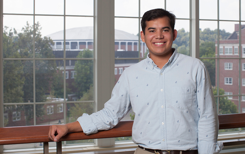 John Melick, a junior in the College of Business, poses for a portrait in Baker University Center on Tuesday, September 8, 2015. ©Ohio University/ Photo by Kaitlin Owens