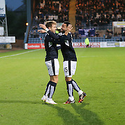 Dundee&rsquo;s Kane Hemmings congratulates Greg Stewart on his goal - Dundee v Hamilton, Ladbrokes Premiership at Dens Park<br /> <br />  - &copy; David Young - www.davidyoungphoto.co.uk - email: davidyoungphoto@gmail.com