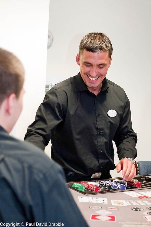 Trainee Justin Laycock  at the Genting Club Croupier School in Sheffield..13 June 2012.Image © Paul David Drabble