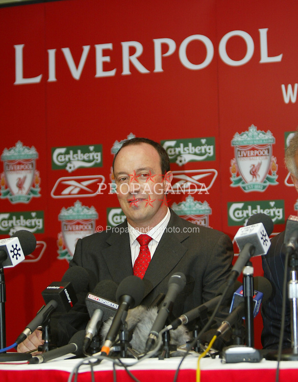 LIVERPOOL, ENGLAND - WEDNESDAY JUNE 16 2004: Rafael Benitez is unveiled as Liverpool FC's new manager at a press conference in the Trophy Room at Anfield, Liverpool. (Photo by David Rawcliffe/Propaganda)