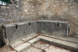 Community toilets have endured through two centuries at the Roman ruins of Puymin in Vaison-la-Romaine, Ventoux, Provence, France.