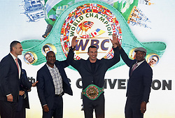 October 1, 2018 - Kiev, Ukraine - (L-R) Kiev's Mayor and former heavyweight boxing champion Vitali Klitschko,ex boxing champion of the World Evander Holyfield,Ukrainian heavyweight boxing champion Vladimir Klitschko and ex boxing champion Lennox Lewis during awarding of Ukrainian heavyweight boxing champion Vladimir Klitschko by the belt of the honorary WBC world champion, at an official opening of the 56th WBC ( World Boxing Council ) Convention in Kiev, Ukraine, 01 October, 2018. The 56th WBC Convention takes place in Kiev from September 30 to October 05. The event participate of boxing legends Lennox Lewis, Evander Holyfield, Eric Morales, Alexander Usik, Vitali Klitschko and about 700 congress participants from 160 countries. (Credit Image: © Str/NurPhoto/ZUMA Press)