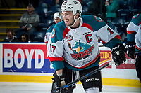 KELOWNA, CANADA - APRIL 14: Rodney Southam #17 of the Kelowna Rockets warms up against the Portland Winterhawks on April 14, 2017 at Prospera Place in Kelowna, British Columbia, Canada.  (Photo by Marissa Baecker/Shoot the Breeze)  *** Local Caption ***