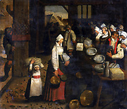 Bridal Couple Receiving their Presents' oil on cavas. School of Pieter Brueghel III (1589-1640) Flemish painter.  Bride and groom stand behind trestle table covered in pewter vessels, household linen to receive their gifts.