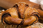 Chocolate filled croissant pastry snack