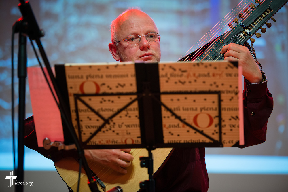 A musician performs on a lute during a reception at the Stadthaus following the dedication of The International Lutheran Center at the Old Latin School on Sunday, May 3, 2015, in Wittenberg, Germany. LCMS Communications/Erik M. Lunsford