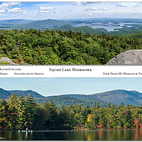 "New! Squam Lake Bookmark.  Includes two images, double sided. View from Mt Morgan, and view from Squam Lake. Measures 7x2""."