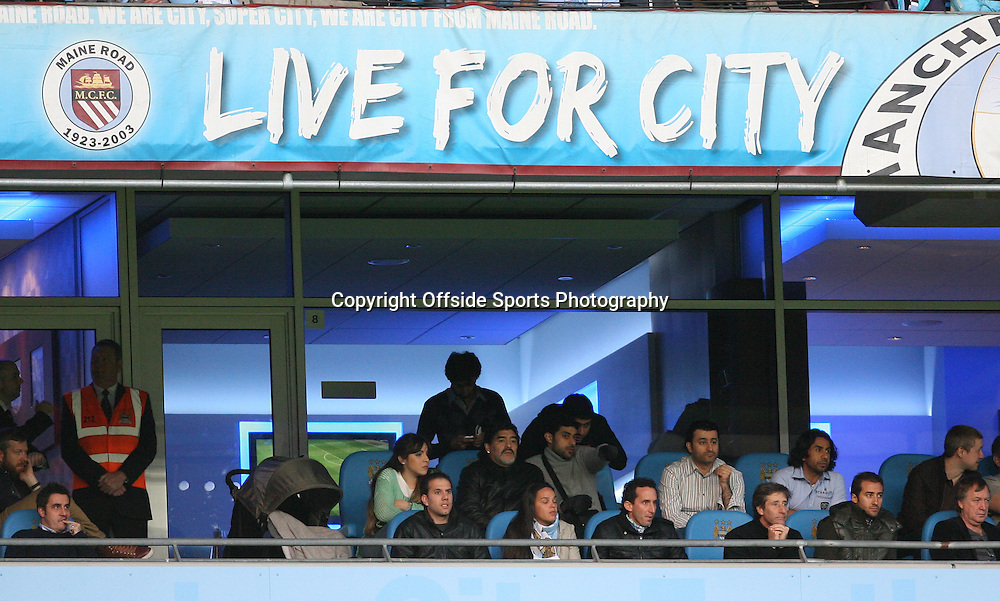 30/04/2012 - Barclays Premier League - Manchester City vs. Manchester United - Diego Maradona (C) watches from an executive box - Photo: Simon Stacpoole / Offside.