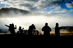 Photographers taking pictures at the Glen Orchy viewpoint on a misty, cloudy autumn morning, Highlands of Scotland<br /> <br /> (c) Andrew Wilson | Edinburgh Elite media