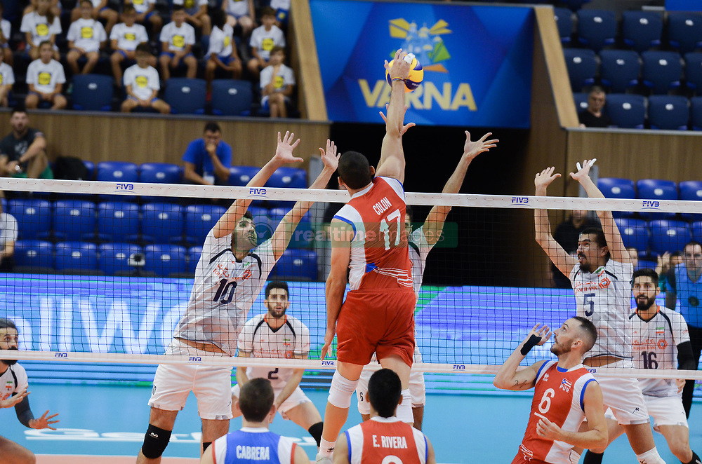 September 12, 2018 - Varna, Bulgaria - Colon Jessie, Puerto Rico play the ball against Iran, during Iran vs Puerto Rico, pool D, during 2018 FIVB Volleyball Men's World Championship Italy-Bulgaria 2018, Varna, Bulgaria on September 12, 2018  (Credit Image: © Hristo Rusev/NurPhoto/ZUMA Press)