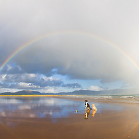 Double Rainbow with dogs on Reenroe Beach, County Kerry, Ireland / cr194