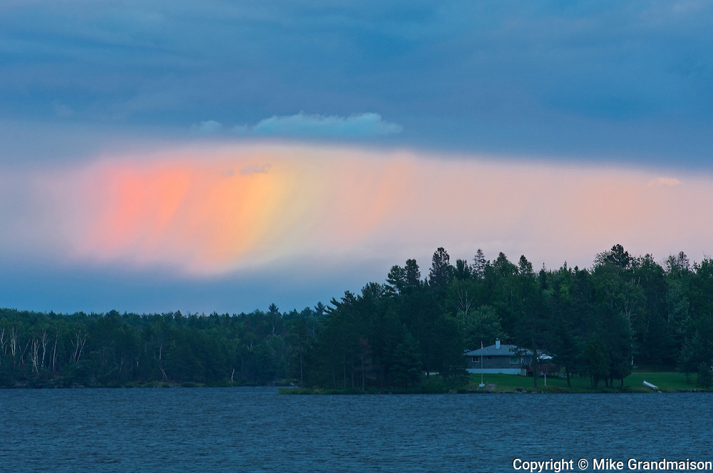 Rainbow on Lac Cache at sunset<br /> Verner<br /> Ontario<br /> Canada