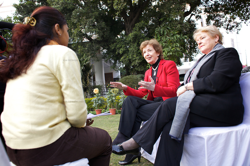 Mary Robinson (centre) and Gro Brundtland of The Elders talk to the Indian press during a visit to New Delhi. ..The Elders are independent global leaders working together for peace and human rights. The group was founded by Nelson Mandela in 2007. Four of the The Elders,.Ela Bhatt, Mary Robinson, Desmond Tutu and Gro Brundtland spent a week in India. The primary objective of the their visit was to learn about the causes of child marriage in India, discuss the harmful impact of child marriage on human rights and development, and to encourage local efforts to end the practice. The Elders met political and business leaders, UN and NGO representatives, member of the media and communities affected by child marriage. ..Photo: Tom Pietrasik|The Elders.New Delhi, India.February 9th 2012