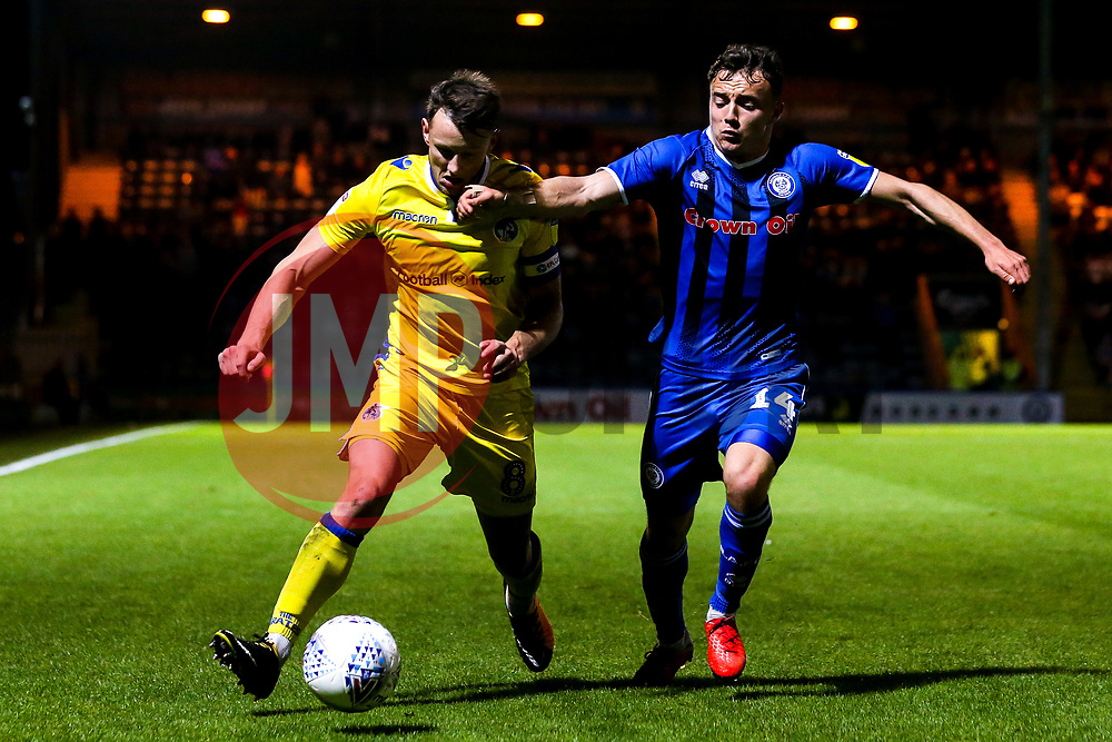 Ollie Clarke of Bristol Rovers takes on Ollie Rathbone of Rochdale - Mandatory by-line: Robbie Stephenson/JMP - 02/10/2018 - FOOTBALL - Crown Oil Arena - Rochdale, England - Rochdale v Bristol Rovers - Sky Bet League One