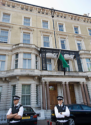 "© licensed to London News Pictures.  28/07/2011. London, UK. Police stand outside the Libyan Embassy on Knightsbride, London today (28/07/2011). The British Foreign Minister, William Hague, yesterday announced that the British Government would recognise the Libyan rebel council as the ""sole governmental authority"", and expel Gaddafi-regime diplomats. Photo credit: Ben Cawthra/LNP"