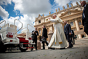 Pope Francis leaves St. Peter's Square after his weekly general audience at the Vatican, Wednesday, May 16, 2018.