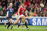 Simon Zebo (Lions) in action during the tour match of the 2013 British And Irish Lions Australian Tour between RaboDirect Melbourne Rebels vs British And Irish Lions at AAMI Park, Melbourne, Victoria, Australia. 25/06/0213. Photo By Lucas Wroe