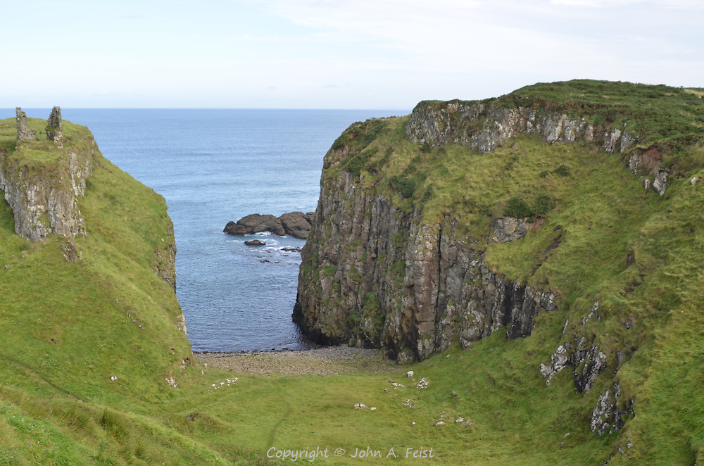 The ruins of Dunseverick Castle overlooking the sea.  County Antrim, Northern Ireland.  Imagine landing a boat here.