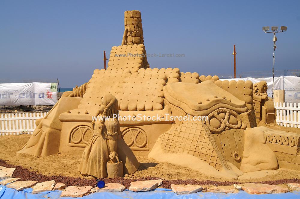 Israel, Haifa, Sand sculpture festival on the Haifa beach, August 2006